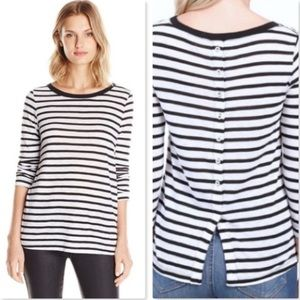 SPLENDID Navy Striped Button Back Long S Slub Tee